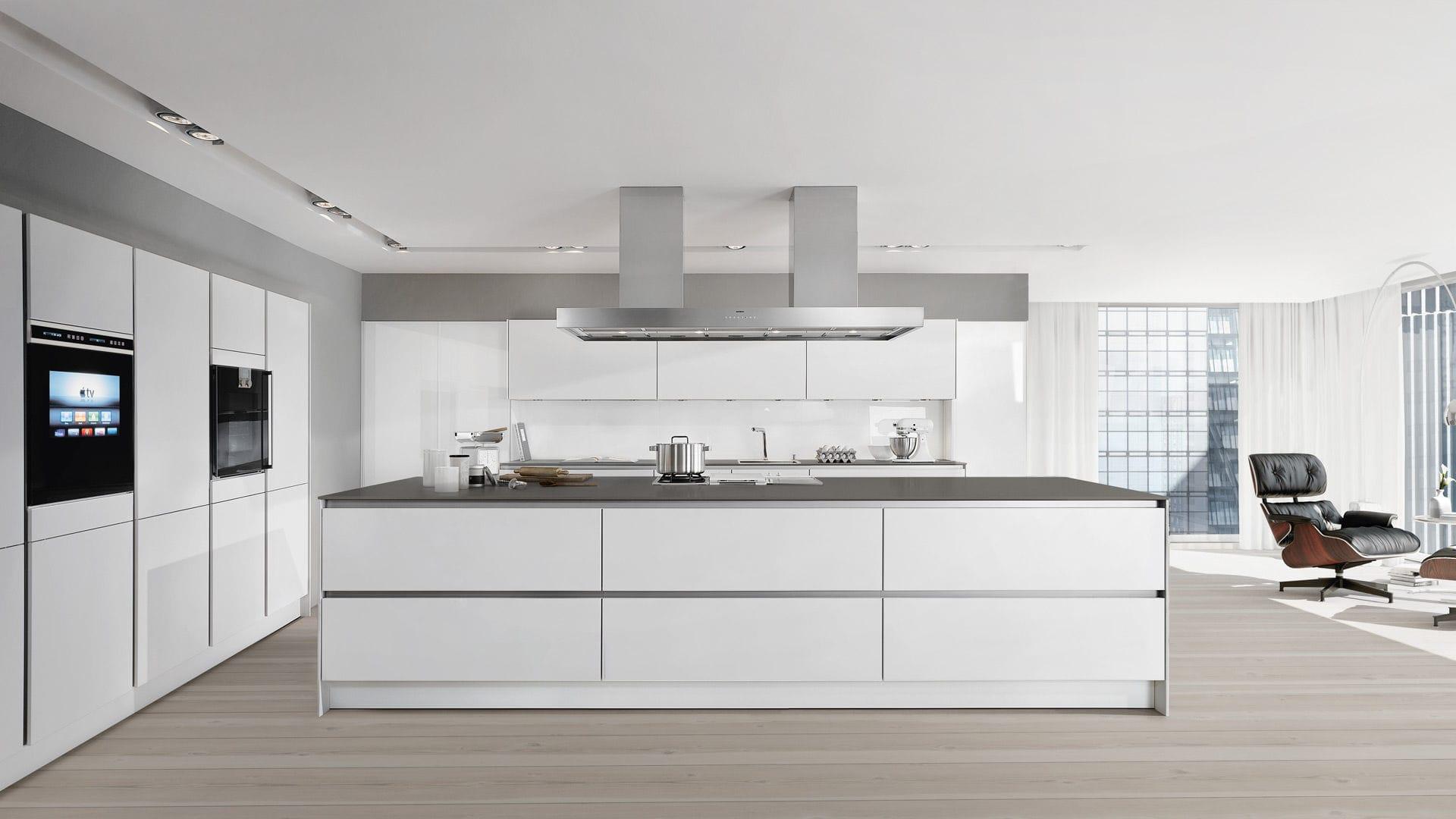 Kochinsel Tiefe moderne küche lackiertes holz holzfurnier kochinsel