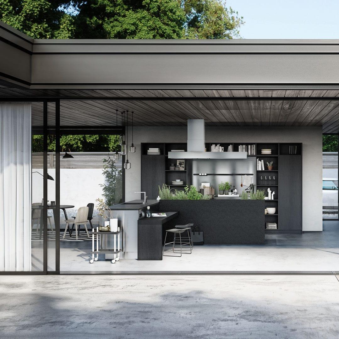 Moderne Küche / Glas / Holzfurnier / Kochinsel - URBAN : SE 4004 E ...