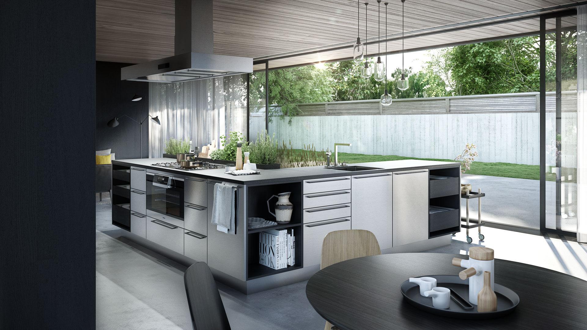 Moderne Küche / Glas / Holzfurnier / Kochinsel - URBAN : SE 4004 E + ...