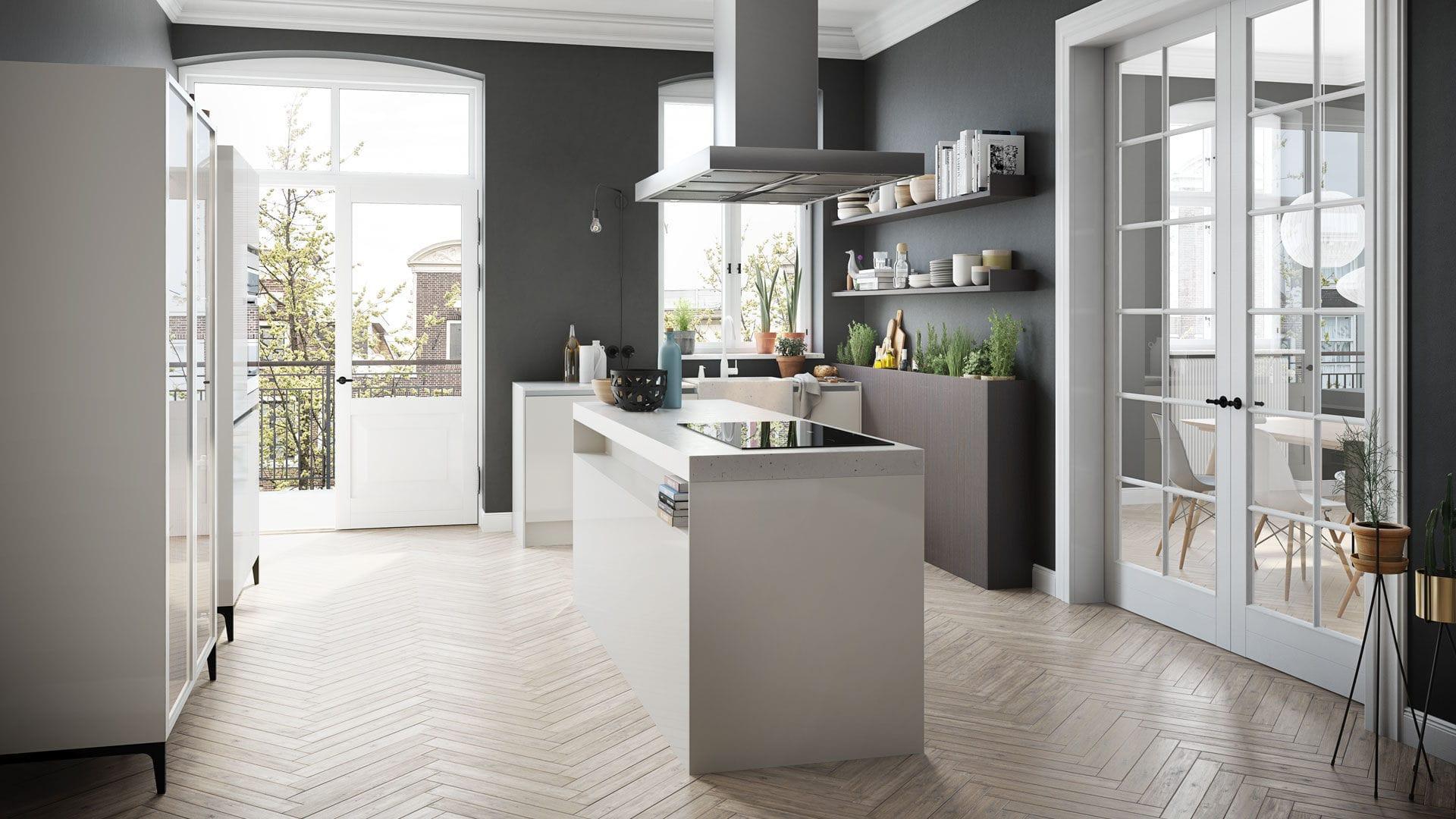 Moderne Küche / lackiertes Holz / Kochinsel / ohne Griff - URBAN ...