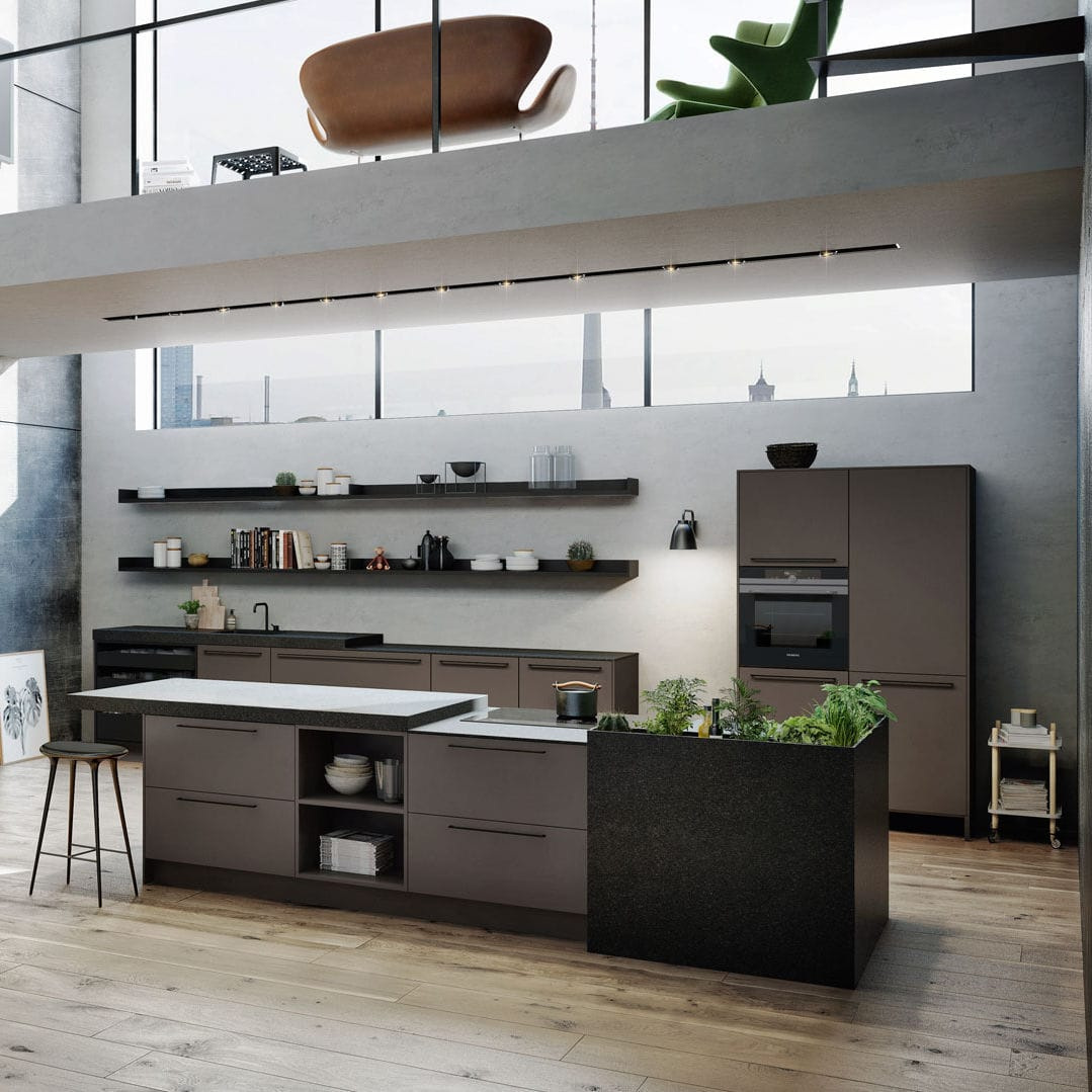 Moderne Küche / lackiertes Holz / Holzfurnier / Kochinsel - URBAN ...