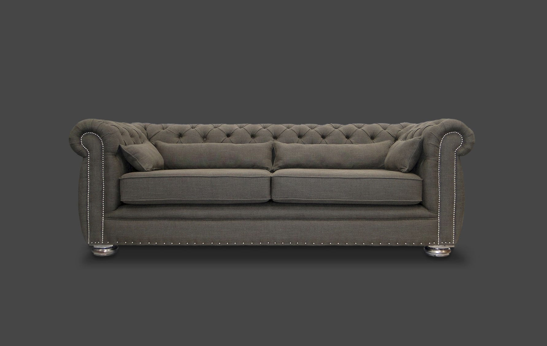 Chesterfield ecksofa stoff grau  Chesterfield-Sofa / Stoff / 2 Plätze / braun - GEORGE - HB Group