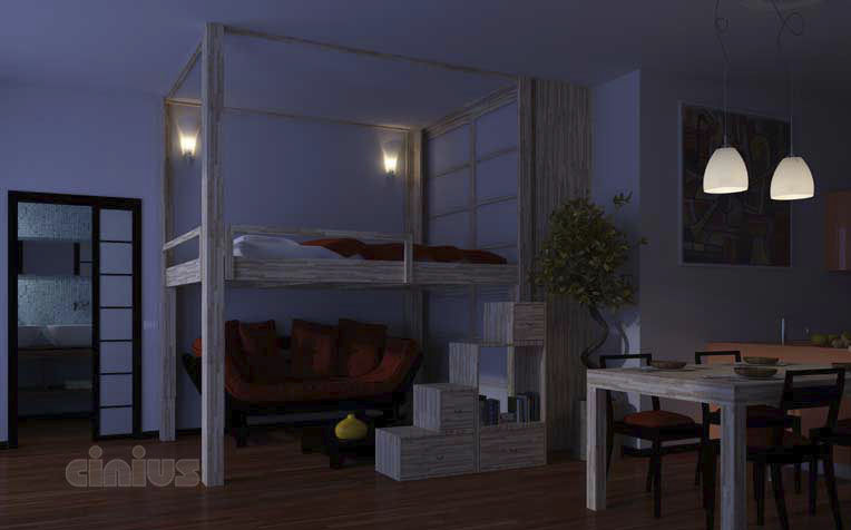 Doppelbett / Decken / modern / Holz - RISING UP & DOWN - Cinius