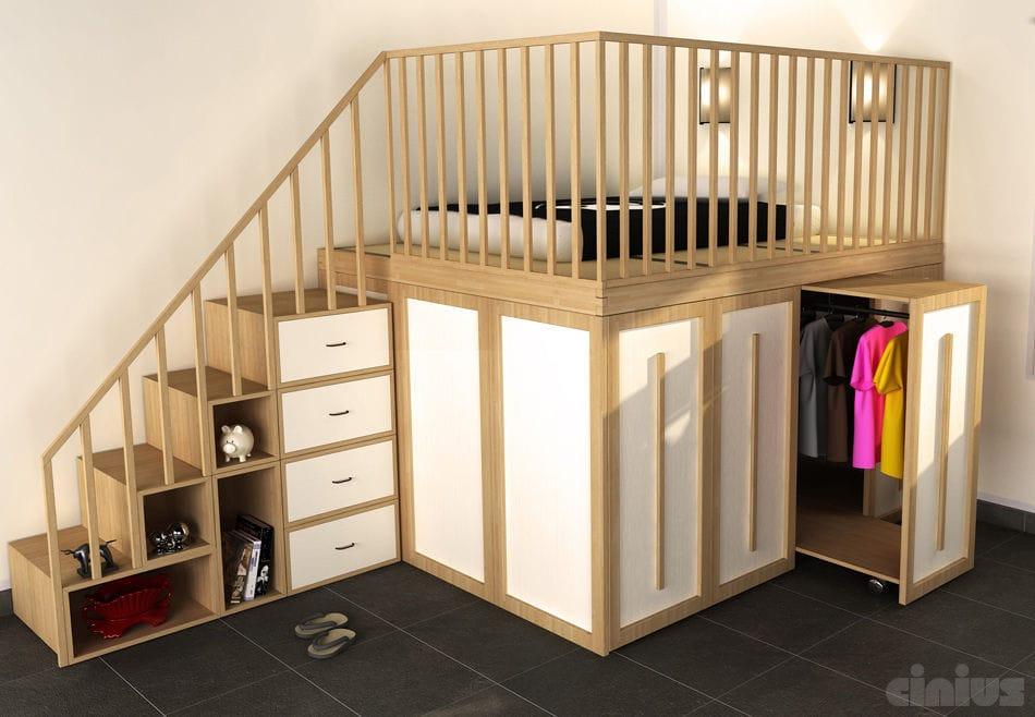 Einzelbett mit stauraum  Doppelbett / modern / Holz / integrierter Stauraum - IMPERO - Cinius