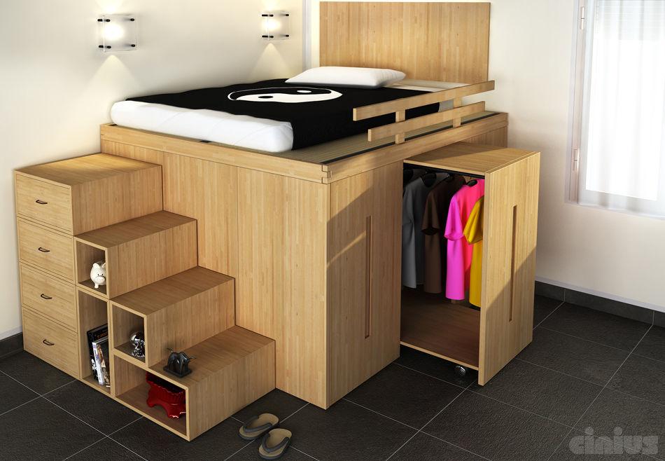 Doppelbett / modern / integrierter Stauraum / Holz - IMPERO - Cinius