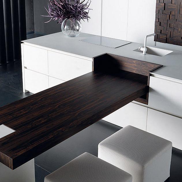 Moderne Kuche Holz Beton Kochinsel Wind Eta Blanc Toncelli