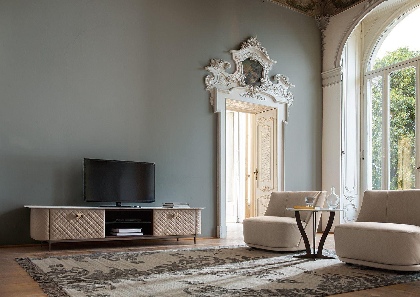 Fernsehmöbel art deco stil holz leder penelope by castello