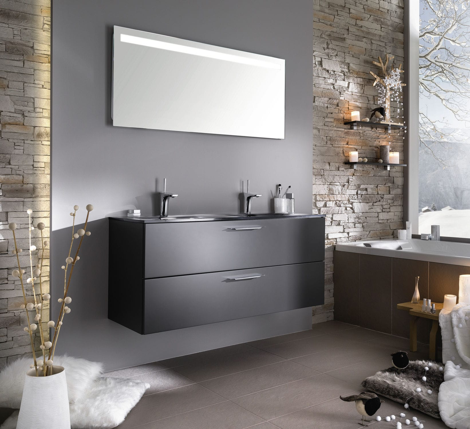 Modernes Badezimmer / Glas / lackiert - UNIQUE Sweet laque graphite ...