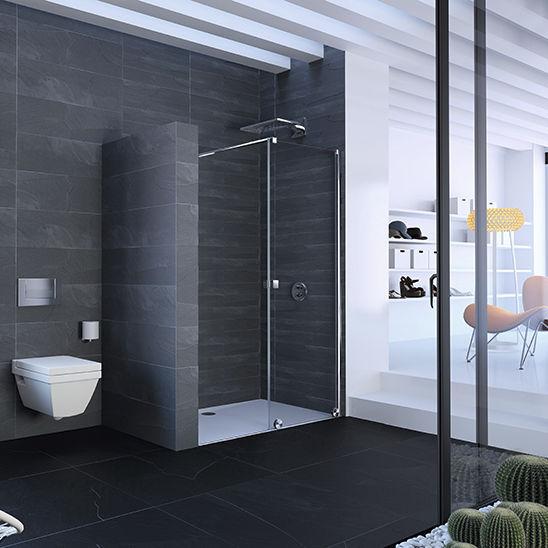 begehbare dusche glas f r nischen schiebet ren xtensa pure h ppe videos. Black Bedroom Furniture Sets. Home Design Ideas