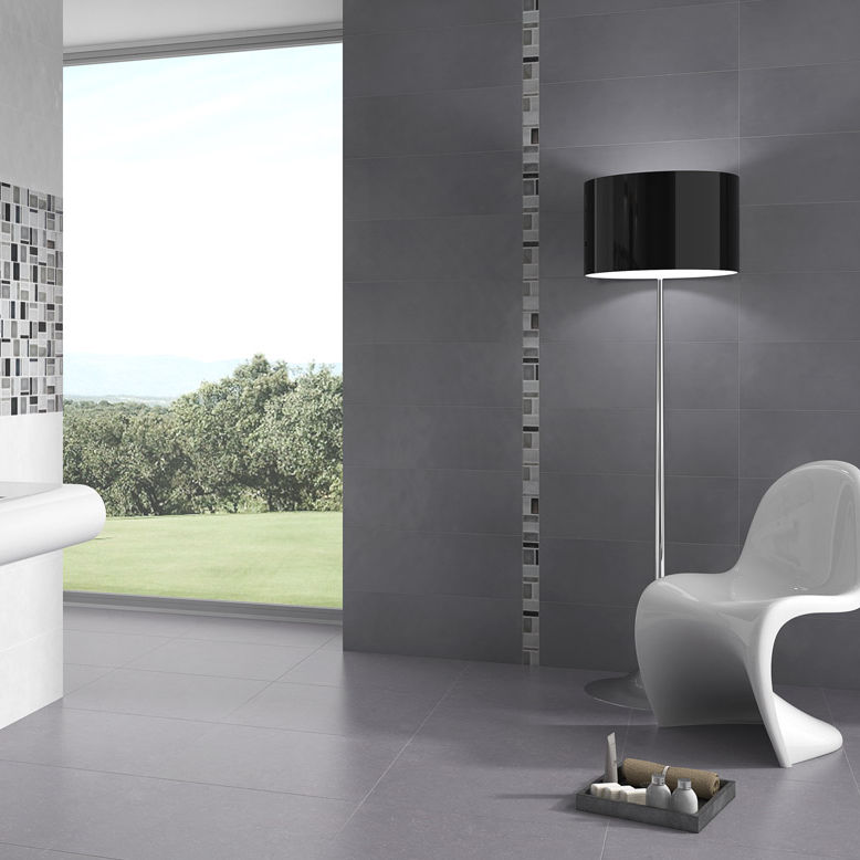 Badezimmer Fliesen Wand Feinsteinzeug Rechteckig Beton Keraben