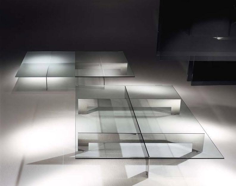 Moderner Couchtisch Glas Rechteckig Aussenbereich Bridge By