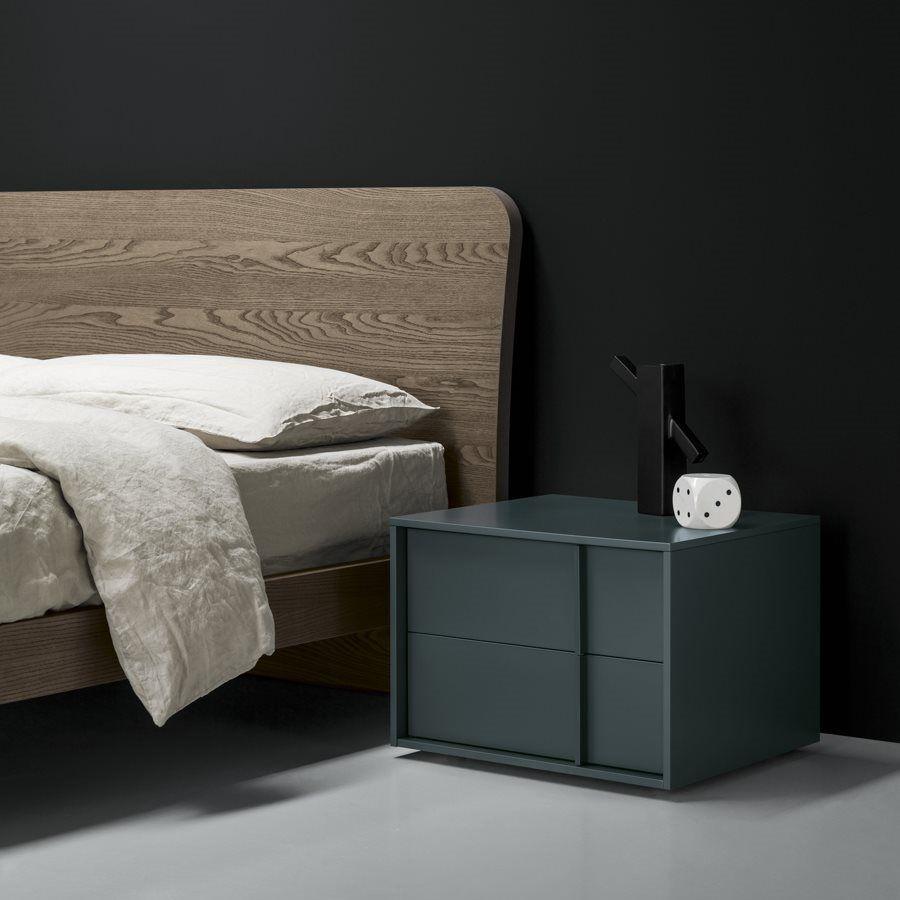 Moderner Nachttisch / Lackiertes Holz / Rechteckig / Grau   VERTEX