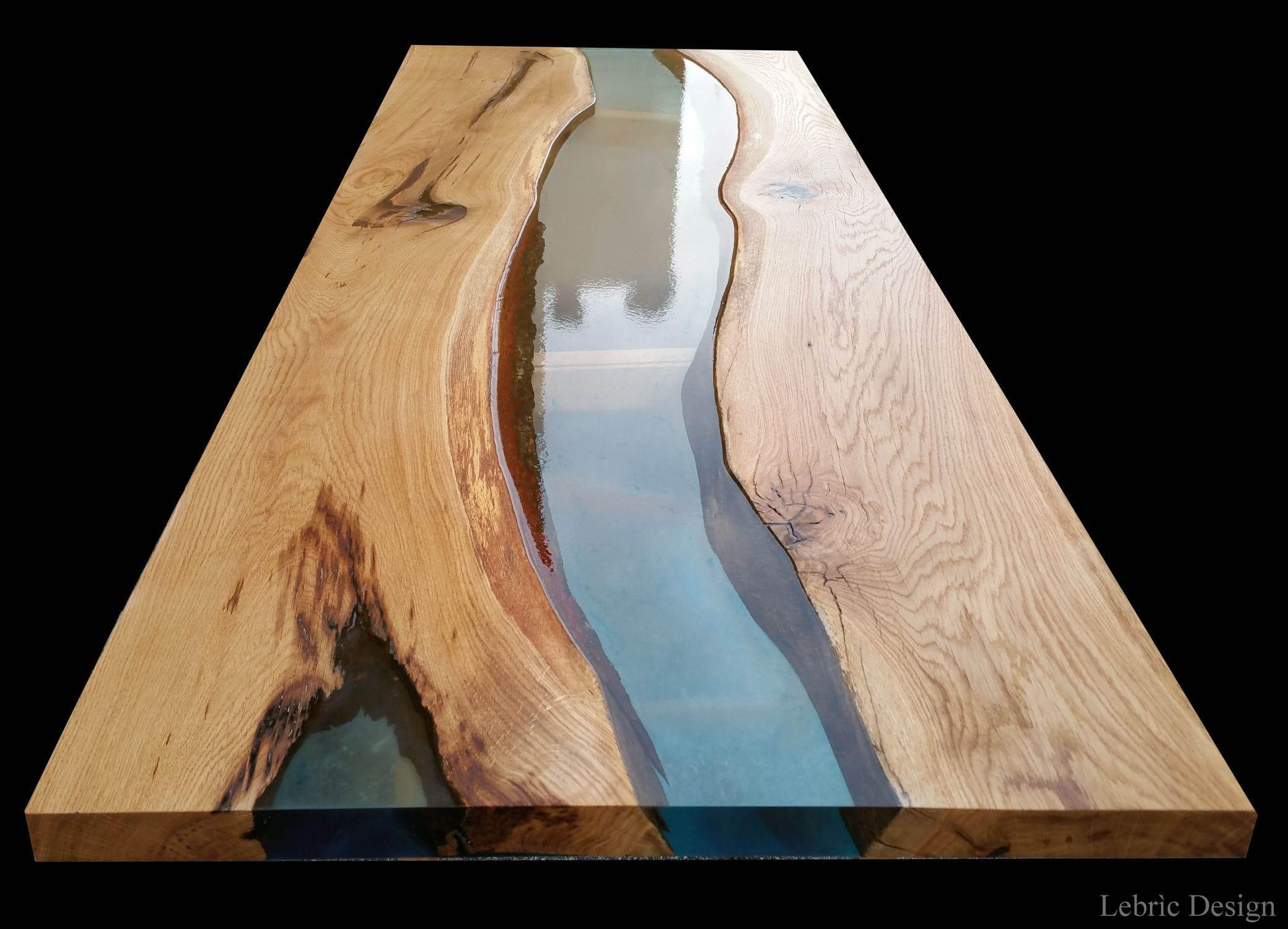 Moderner Esstisch Holz Epoxid Rechteckig Danubio Antico