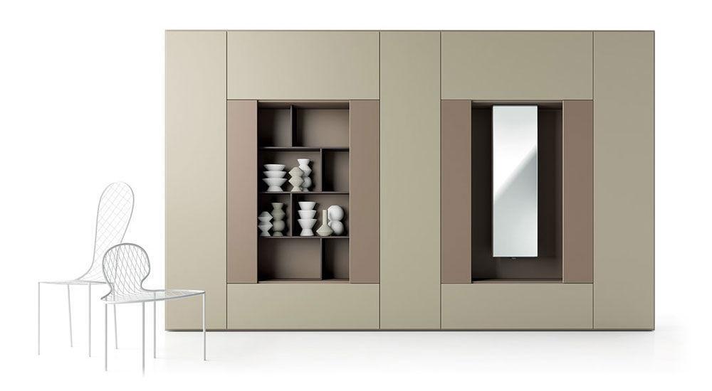 Moderner Wohnzimmer Wohnwand Holz ROOMY CACCARO