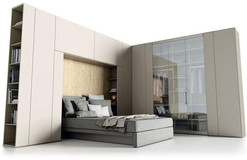 Moderner Kleiderschrank / Holz / Falttüren / Spiegel - ROOMY - CACCARO