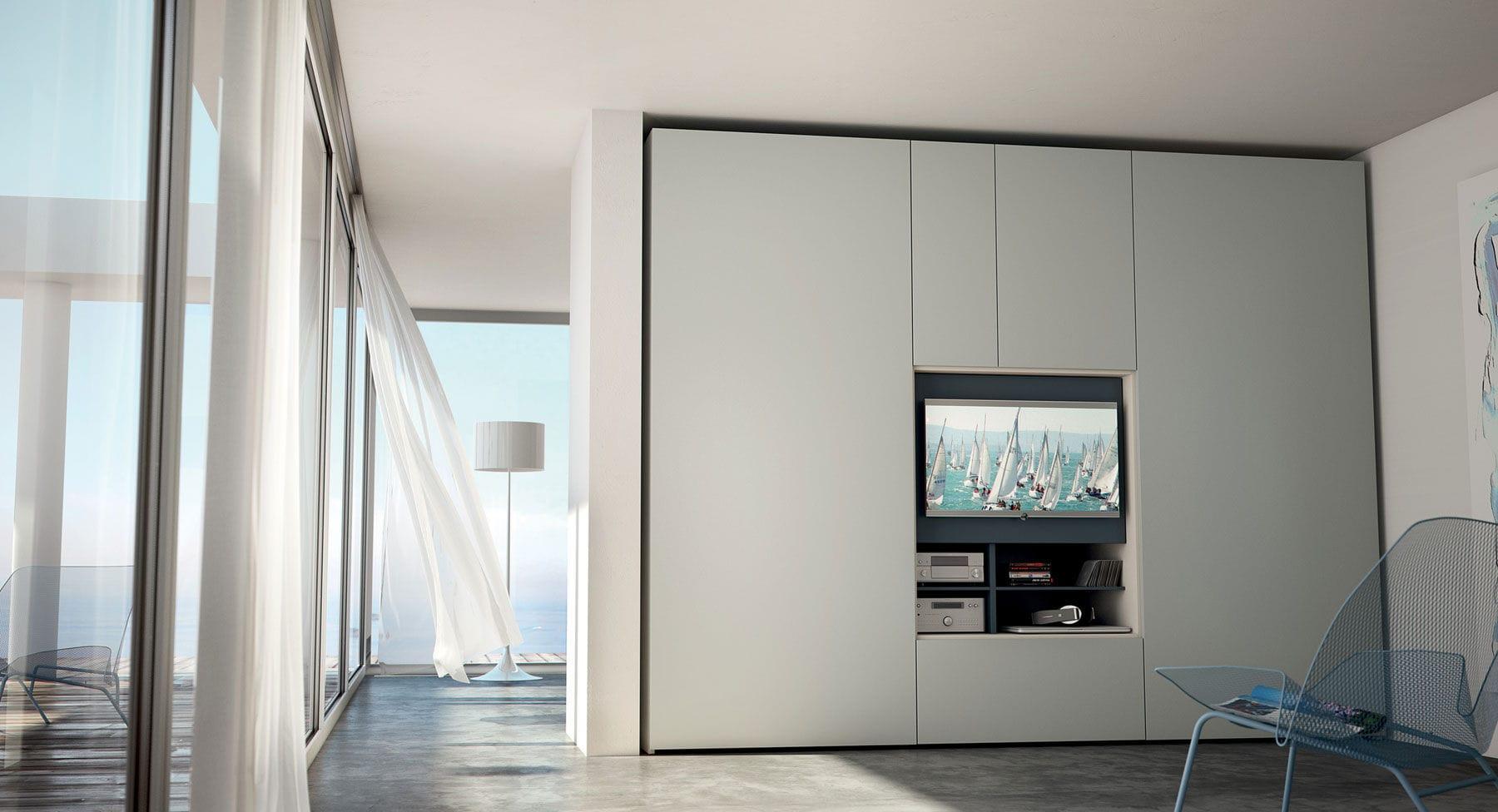 Moderner Kleiderschrank / Holz / Falttüren / integriertem TV ...