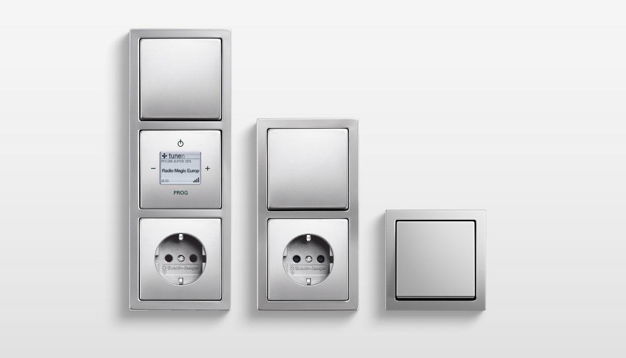 Drucktaster-Schalter / Edelstahl / modern / mit passenden Steckdosen ...