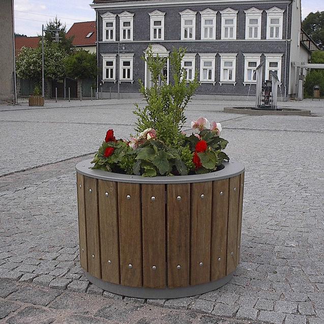 Edelstahl-Pflanzkübel / Holz / rund / modern - PETRA - LEIPZIGER ...