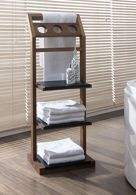 Modernes Regal / aus Teakholz / für Badezimmer / Handtuchhalter ...