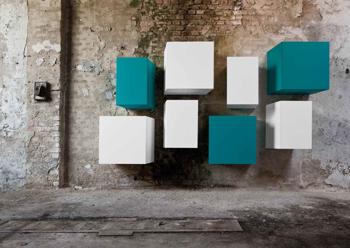 Wandmontiertes Regal / Originelles Design / Holz / Lackiertes Holz   CUBE  By Claudio Lovadina