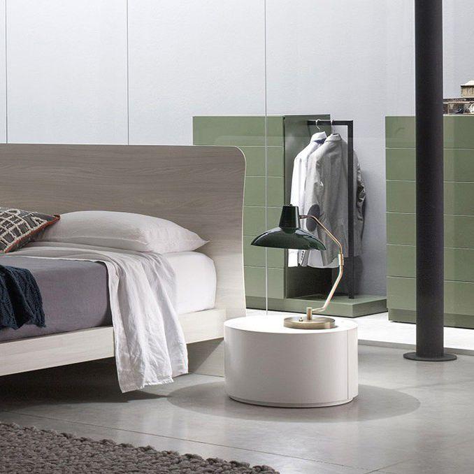 Moderner Nachttisch / Lackiertes Holz / Rund / Weiß   ALLOUT