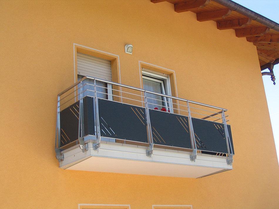 Glasplatten-Balkon / mit Stangen / Glas / Holz - INOX DESIGN