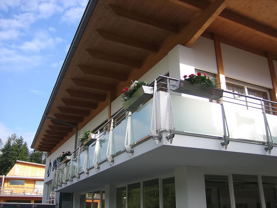 Glasplatten Balkon Mit Stangen Glas Holz Inox Design