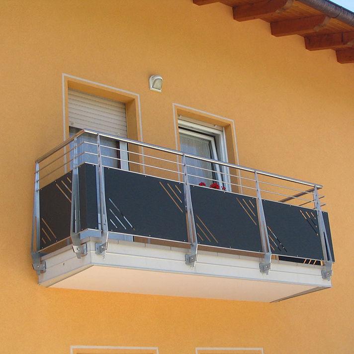 Platten Balkon Mit Stangen Edelstahl Inox Design