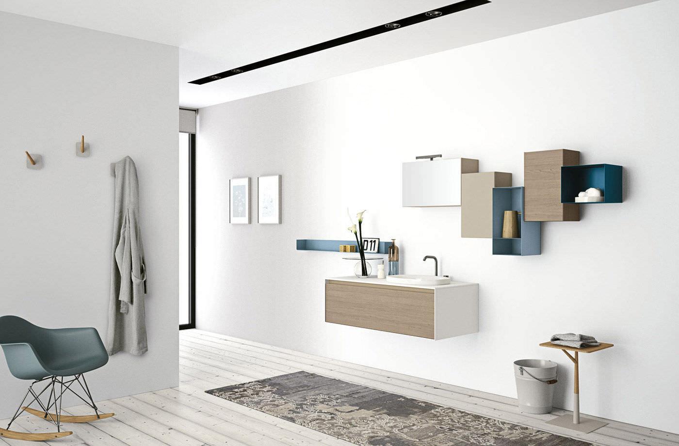 Wandmontiertes Regal / modern / Holz / für Badezimmer - ARIA by ...