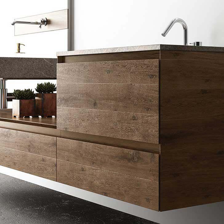 hängend-waschtischunterschrank / holz / modern / mit spiegel,