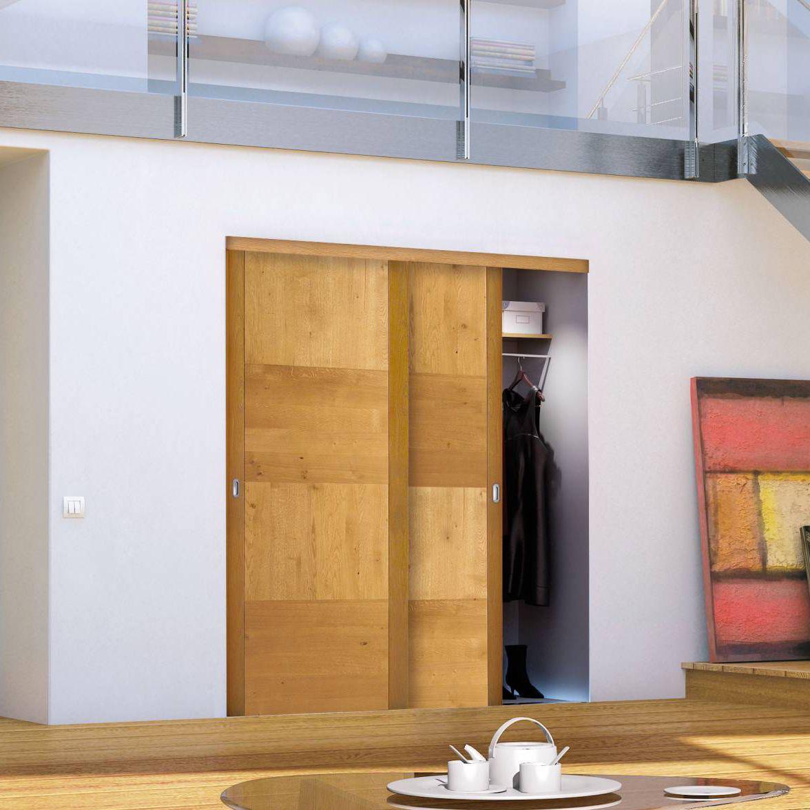 Tür für Wandschrank / einflügelig / zum Schieben / aus Eiche ...