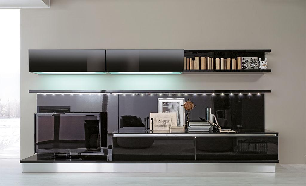 Moderne Wohnwand / lackiertes Glas - VOLARE - ARAN Cucine