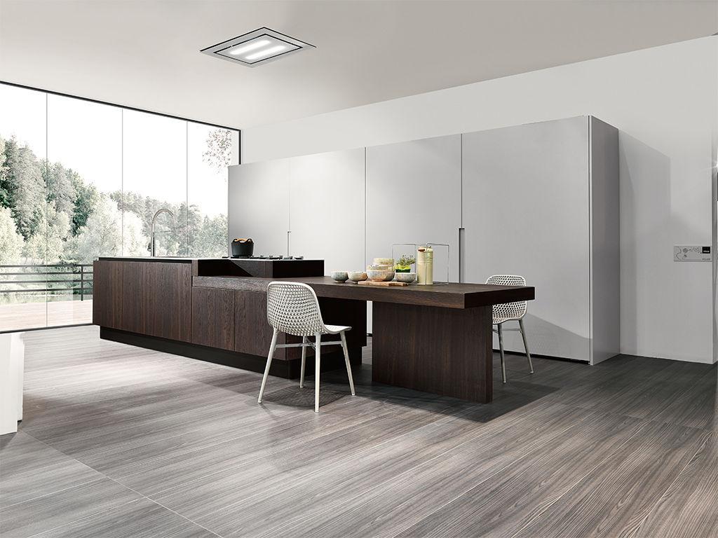 Moderne Küche / Holzfurnier / Kochinsel / rund - VOLARE - ARAN Cucine
