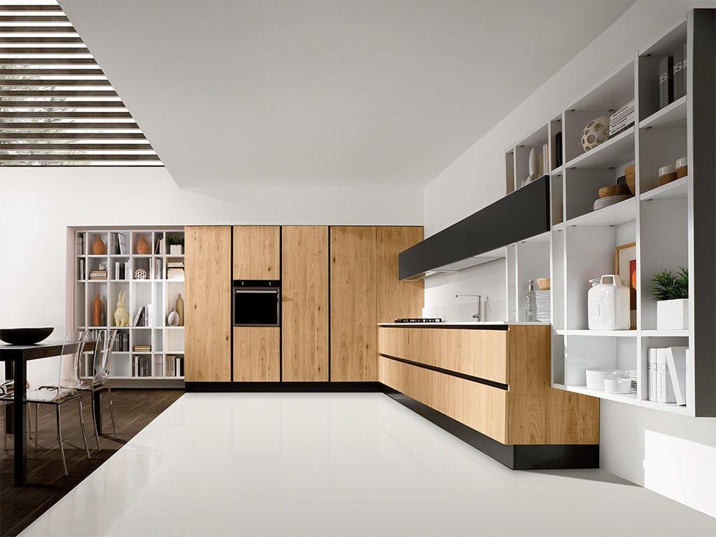 Moderne küche / holzfurnier / holz / kochinsel   volare   aran