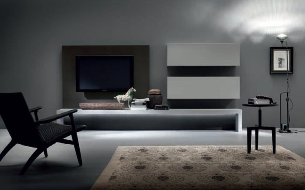 Moderne wohnwand  Moderne Wohnwand / Holz / lackiertes Holz - LOUNGE COMPOSIZIONE ...