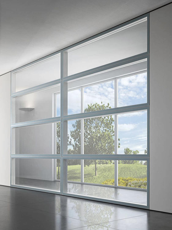 Festinstallierte Trennwand / Aluminium / verglast / für gewerbliche ...