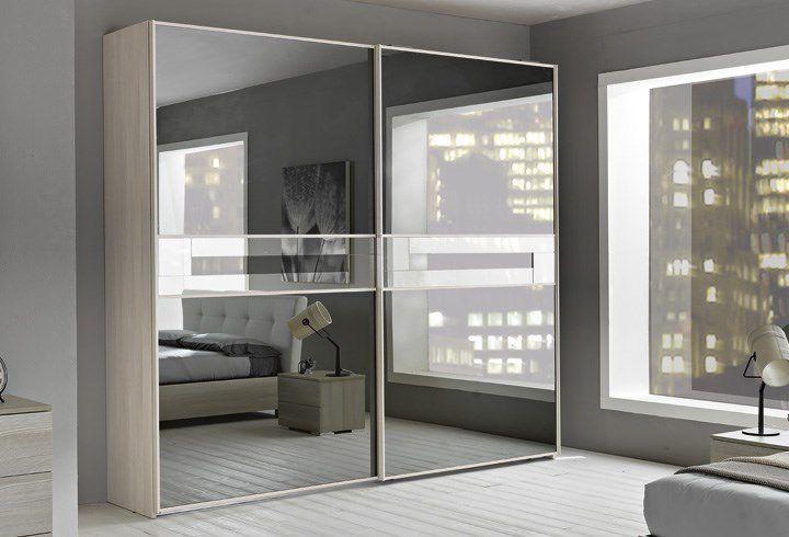 Kleiderschrank schiebetüren spiegel  Moderner Kleiderschrank / Holz / Schiebetüren / Spiegel - LAMPO ...