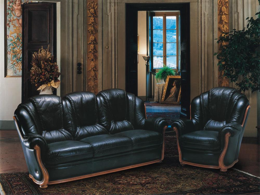 Klassisches Sofa / Leder / Holz / 3 Plätze - INCAS - Nieri