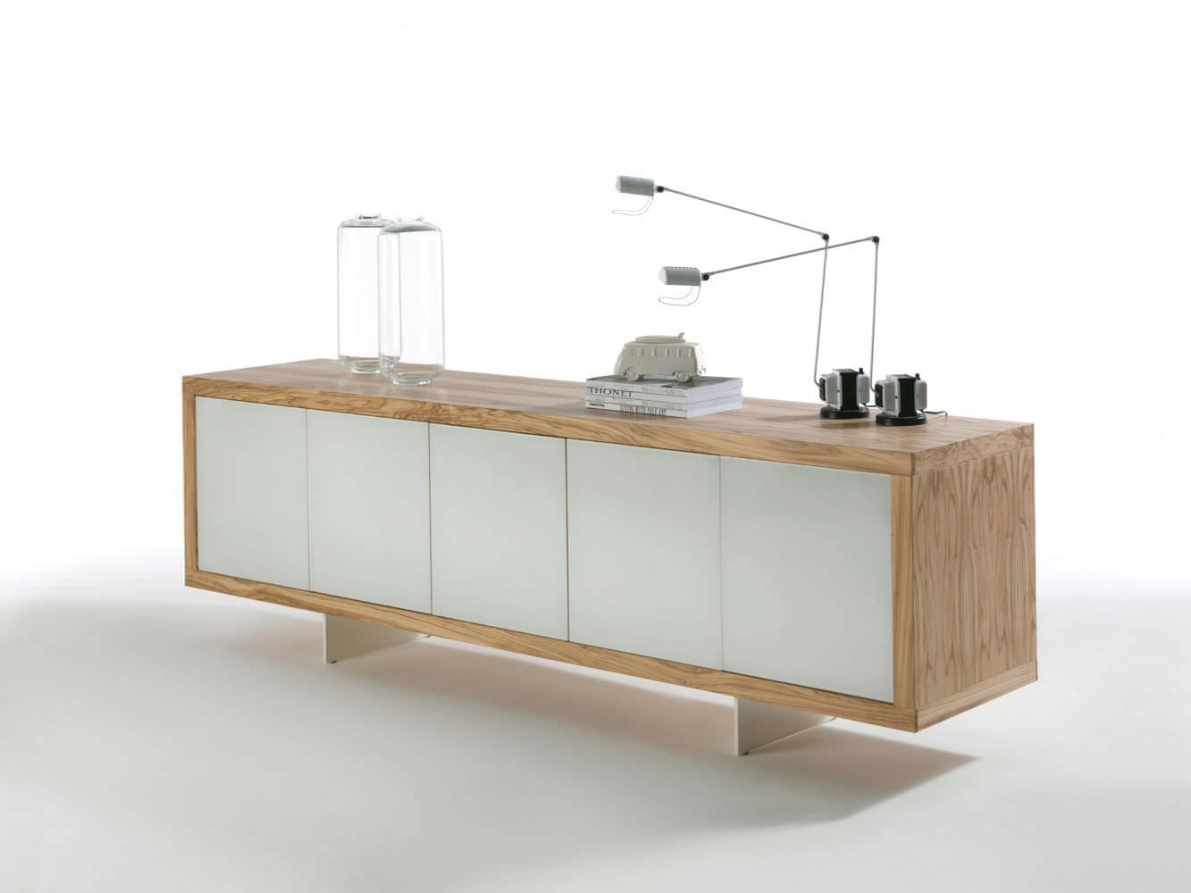 Sideboard holz glas  Modernes Sideboard / Holz / lackiertes Glas / Metall - MADERNO by ...