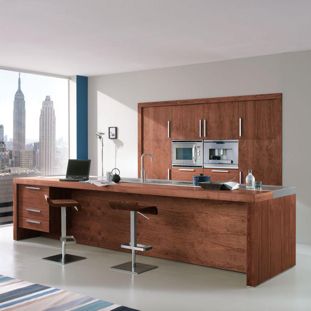 Moderne Kuche Holz Kochinsel Mit Griffen Life Riva