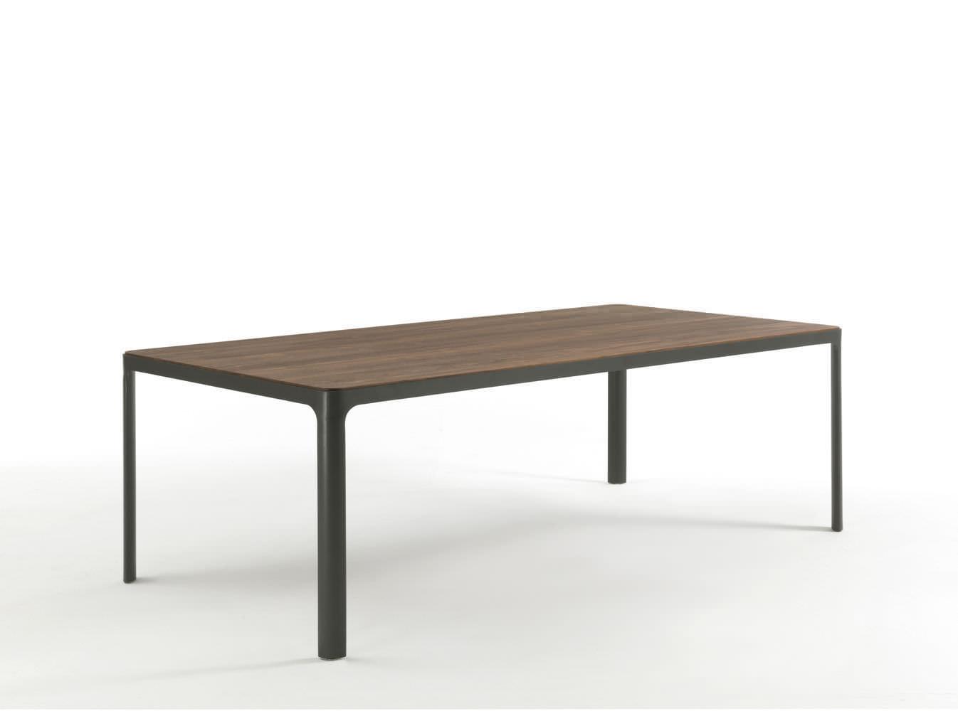 moderner tisch / holz / lackiertes metall / rechteckig - hug by, Möbel