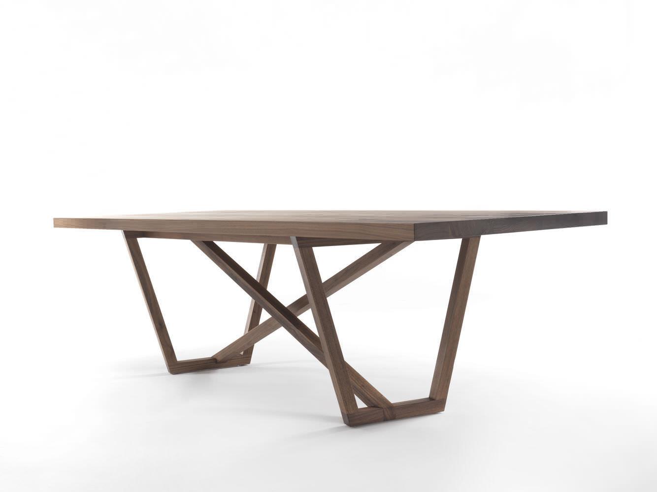 moderner tisch / aus massivholz / rechteckig / für innenbereich, Möbel