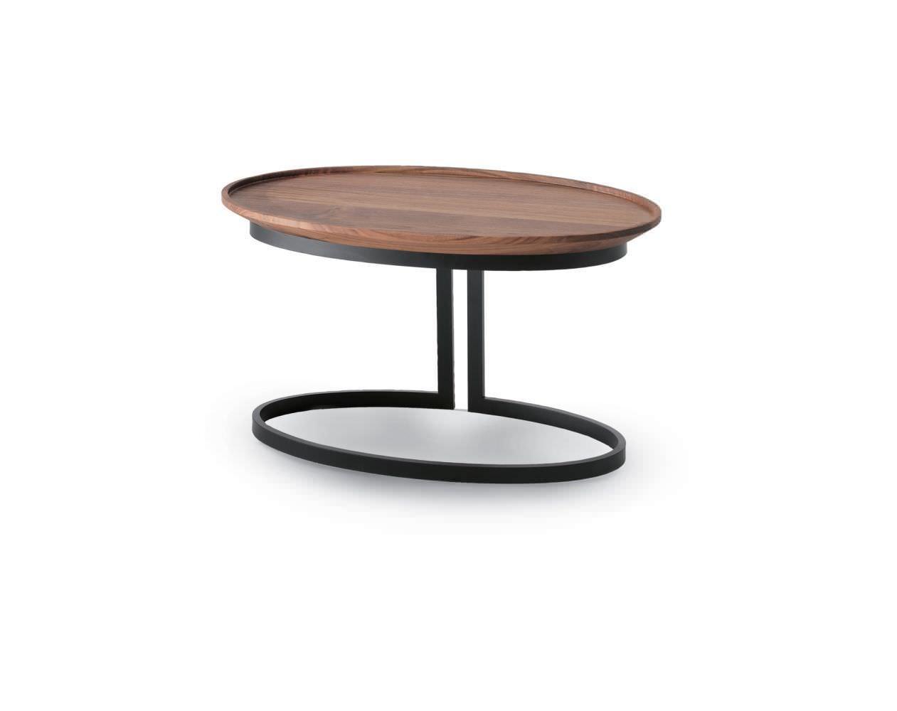 Moderner Beistelltisch Holz Metall Oval Wing Riva