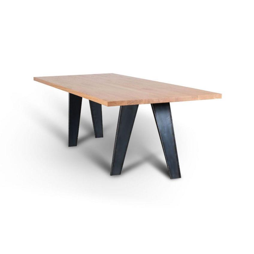 Tisch Aus Holz Colino Riva   Moderner Tisch Massivholz Eisen Rechteckig Easel By Giovanna