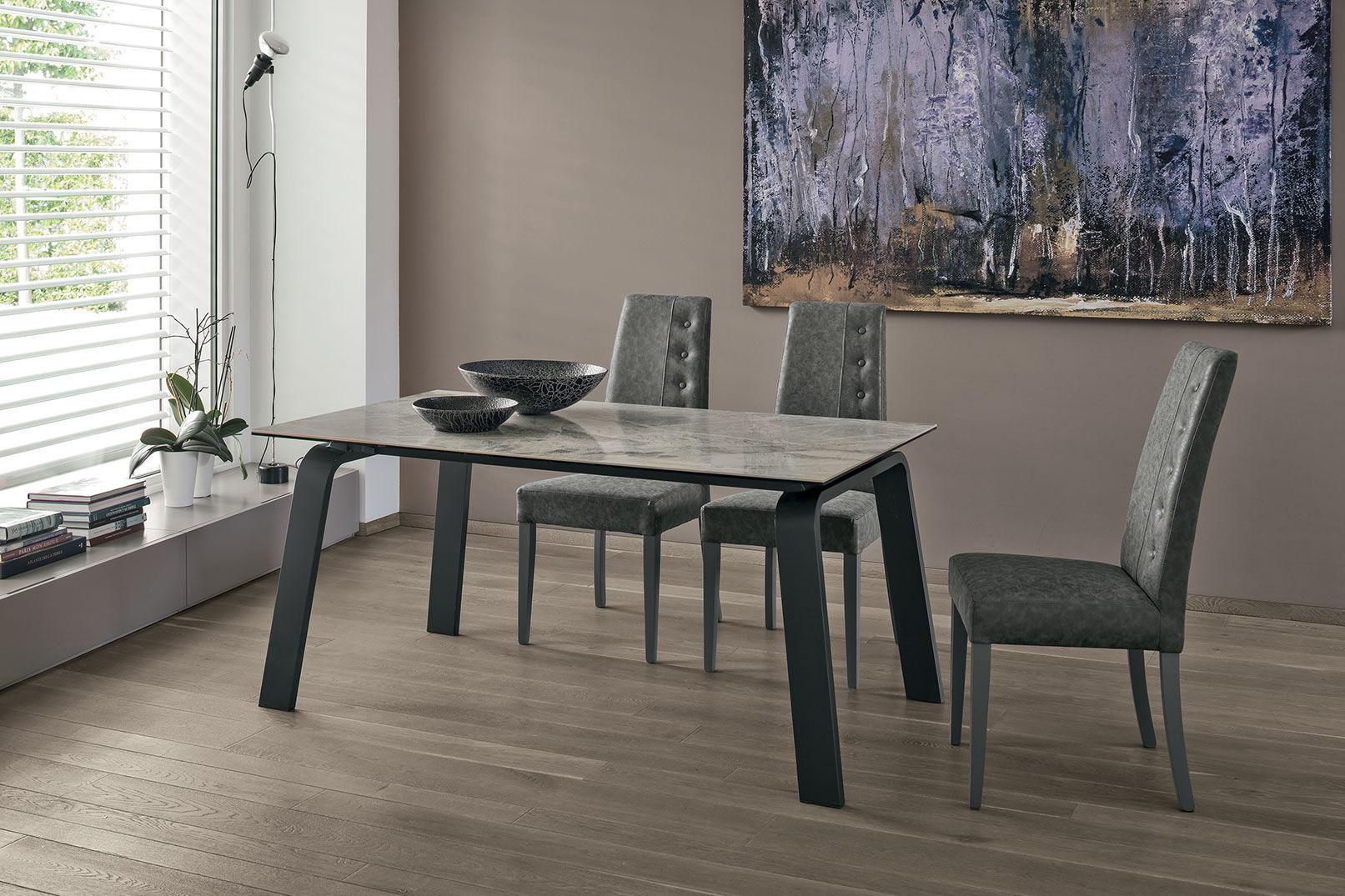 Moderner Esstisch / aus MDF / Hartglas / Aluminium - DEIMOS 160 ...