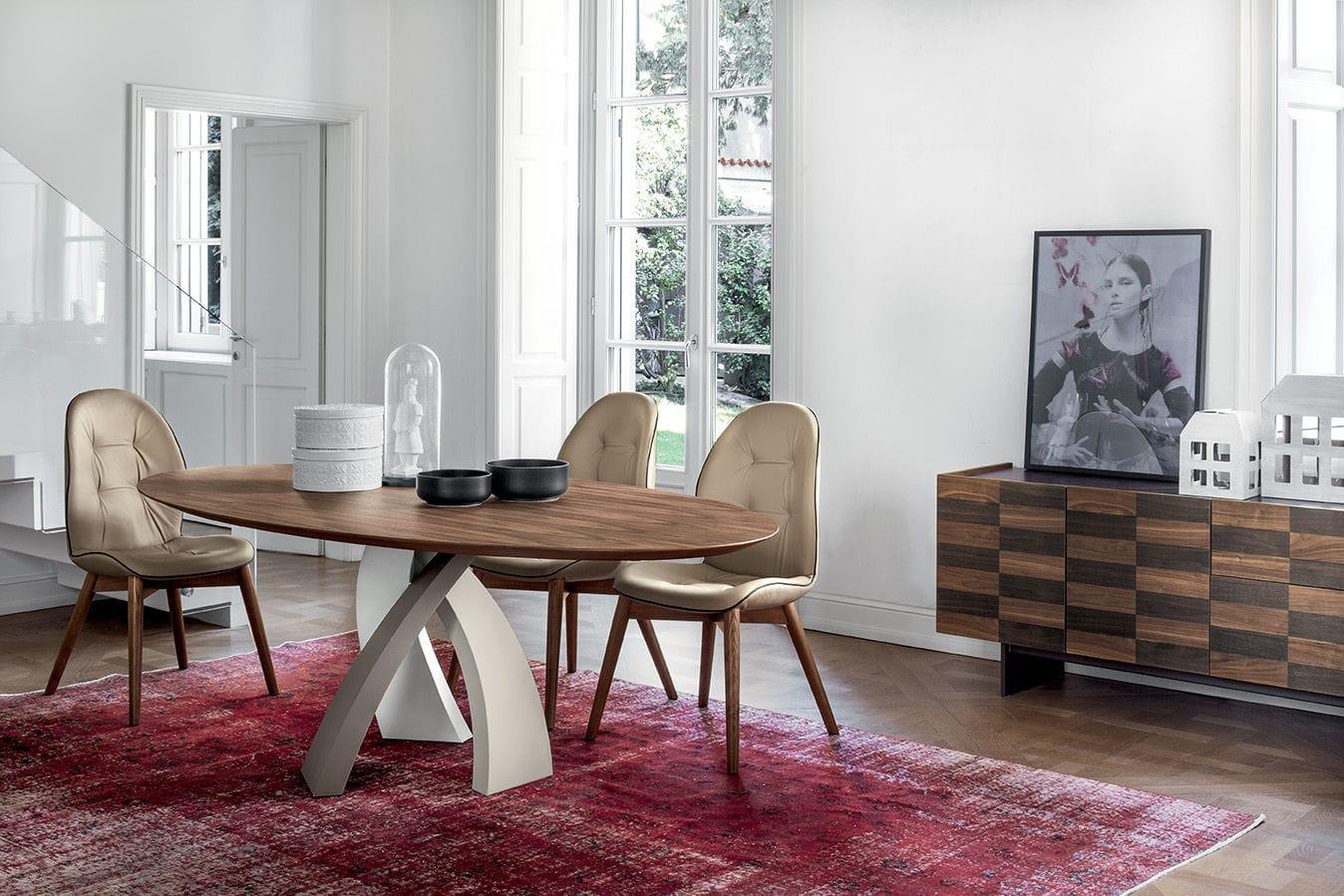Moderner Esstisch / Holz / Stahl / Hartglas - ELISEO - Tonin Casa