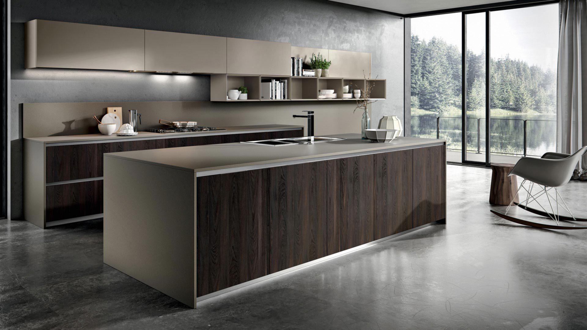 Moderne Küche / Holz / Melamin / Kochinsel - YPSILON : COMPOSITION ...