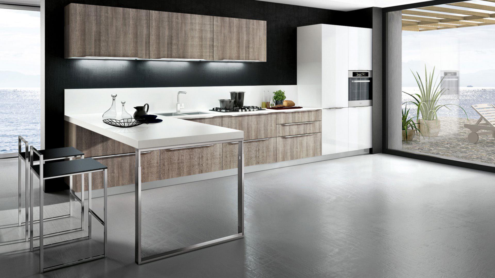Moderne Küche / Holz / Melamin / L Förmig ...