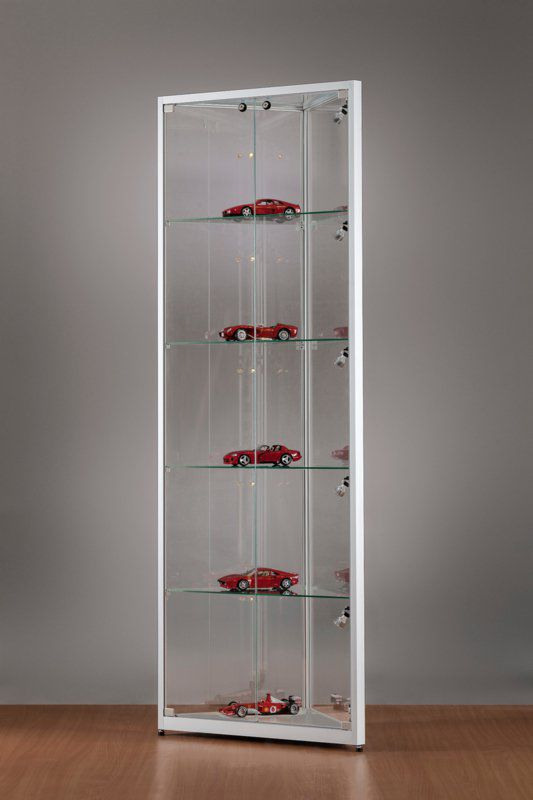 Moderne Vitrine / Glas / Holz / aus anodisiertem Aluminium ...