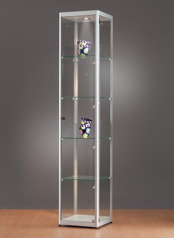 Moderne Vitrine / Glas / Holz / anodisiertes Aluminium - 115 400 ...